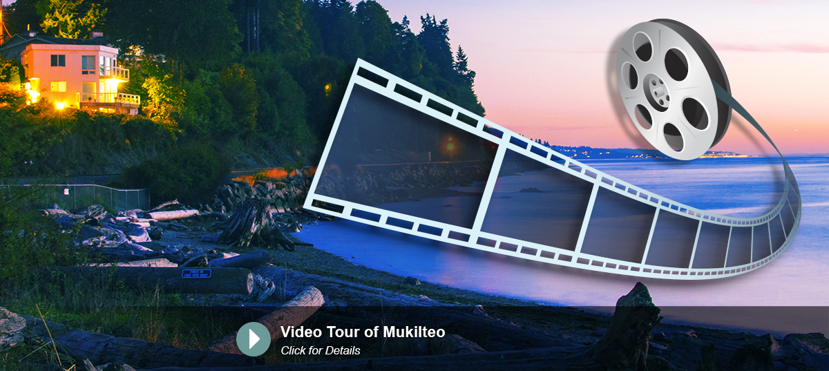 Lighthouse park at dusk with graphic of video tape added
